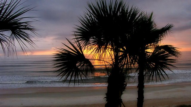 The sun rises over Ormond Beach