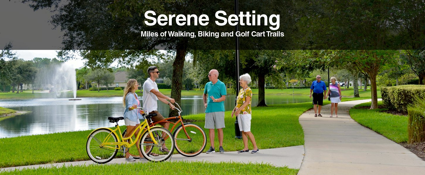A serene setting with walking, biking, and golf cart trails at Plantation Bay Golf and Country Club